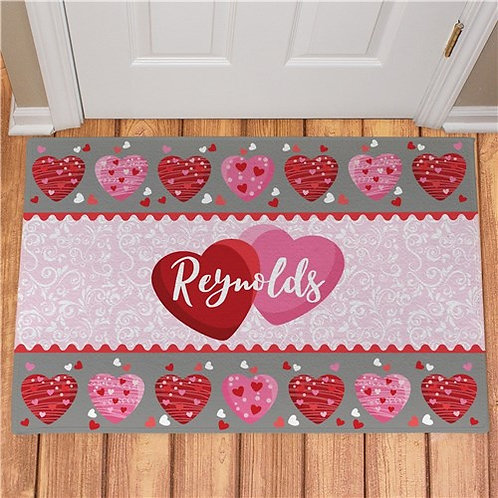 Personalized Family Hearts Doormat