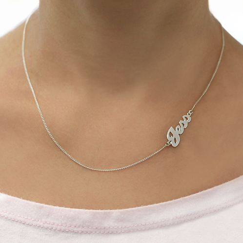 Sterling Silver Sideways Name Necklace | Personalized Jewelry With Custom Name