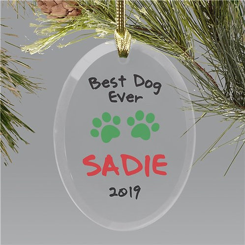 Personalized Best Dog Ever Christmas Glass Ornament