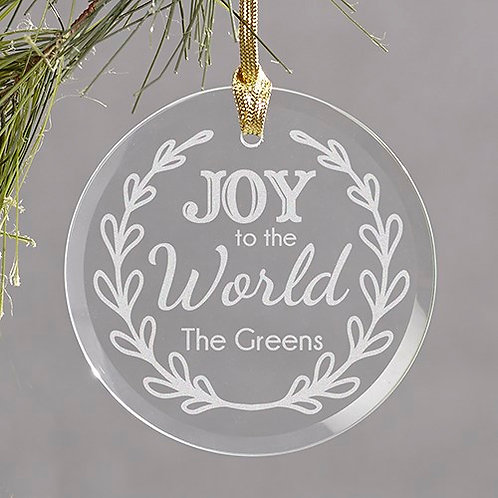 Engraved Joy to the World Round Glass Ornament