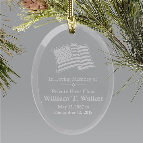 In Loving Memory Personalized Military Memorial Glass Holiday Ornament