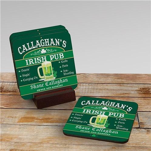 Irish Pub Personalized Coaster Set