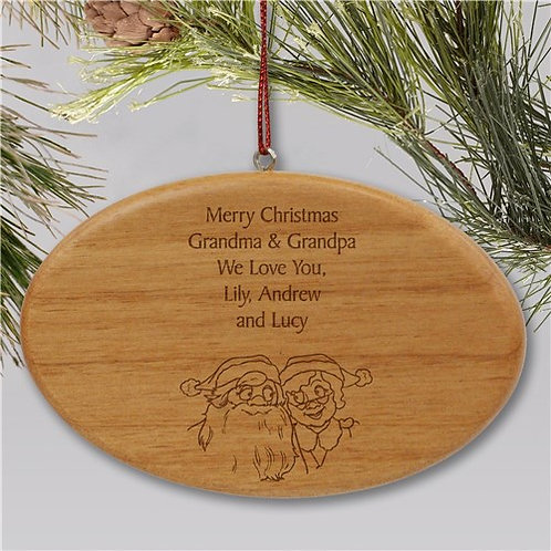 Engraved Grandparents Wooden Oval Christmas Ornament