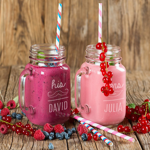 Personalized Couples His and Hers Glass Mason Jars