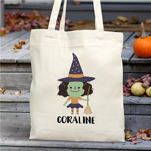 Personalized Halloween Witch Tote Bag