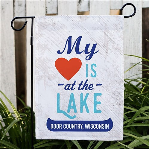 Personalized My Heart Is At The Lake Garden Flag