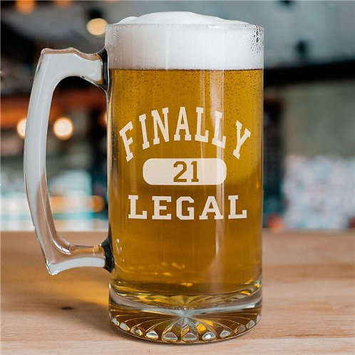 Finally Legal Personalized 21st Birthday Glass Mug