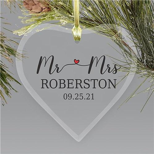 Personalized Mr & Mrs Heart Ornament