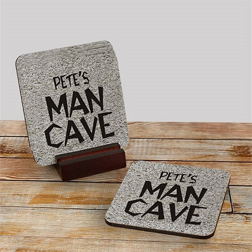 Man Cave Personalized Coaster Set