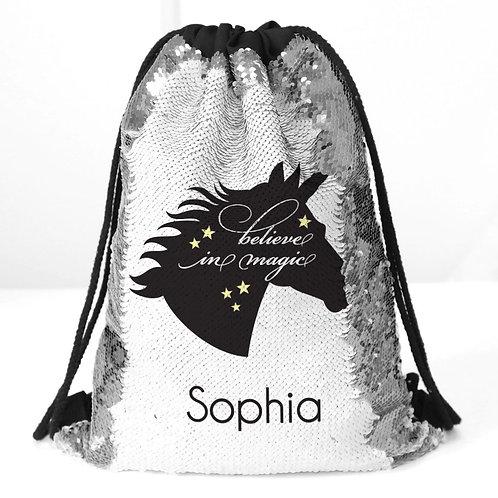 Black Unicorn Custom Kids Flip Sequin Drawstring Backpack