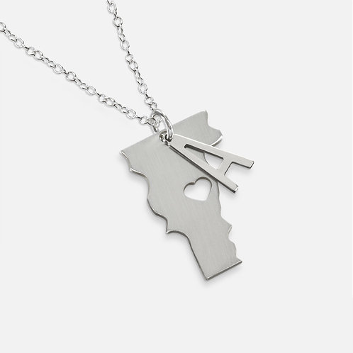 Sterling Silver State Necklace Personalized with Initial