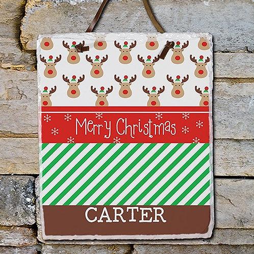 Christmas Reindeer Slate Plaque