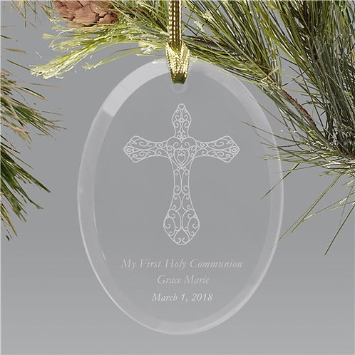 Engraved Cross Glass Holiday Ornament