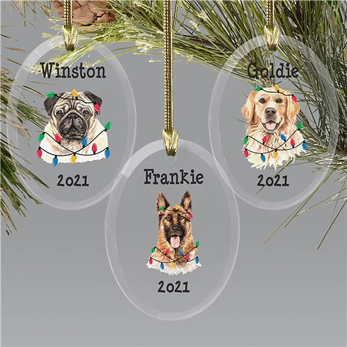 Personalized Dog With Christmas Lights Oval Ornament