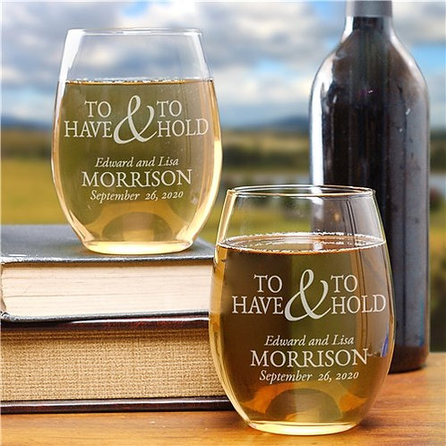 To Have & To Hold Stemless Wine Glass Set