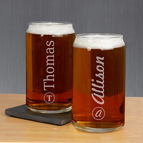Engraved Name and Initial Beer Can Glass
