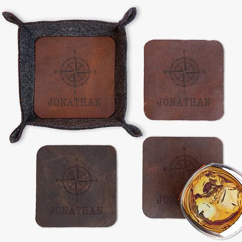 Felt Stash Tray w/ Custom Compass Leather Insert Coasters