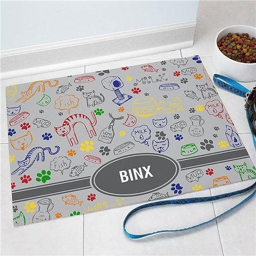Personalized Cat Doodle Pet Mat