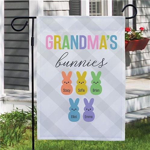 Personalized Grandma's Bunnies Garden Flag