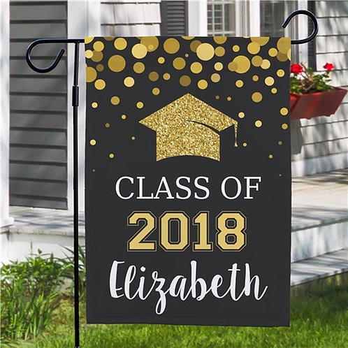 Personalized Class Of...Glitter Gold Garden Flag