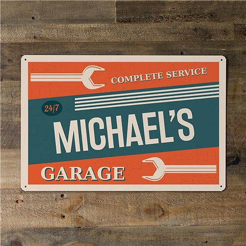 Personalized Garage 12x18 Metal Sign