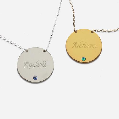 Sterling Silver Pendant Personalized w/ Name and Swarovski Birthstone