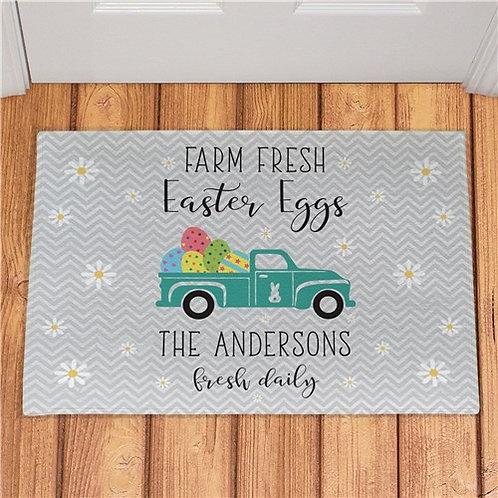 Personalized Farm Fresh Easter Eggs Doormat