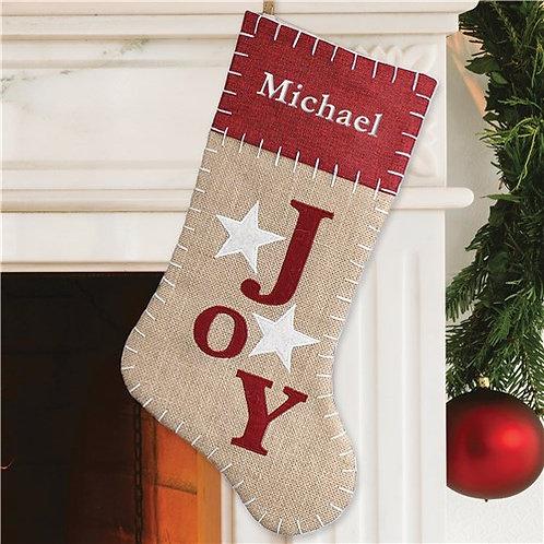 Joy Burlap Embroidered Stocking