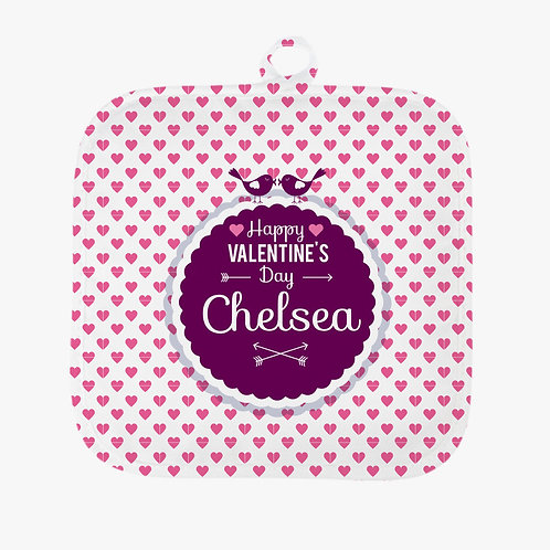 Personalized Valentine's Hearts Potholder