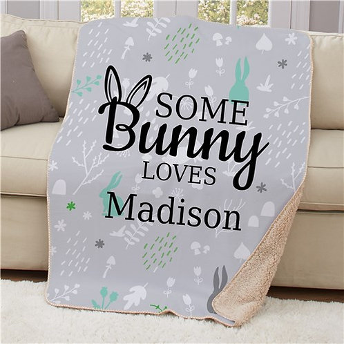 Personalized Some Bunny Loves Sherpa Blanket