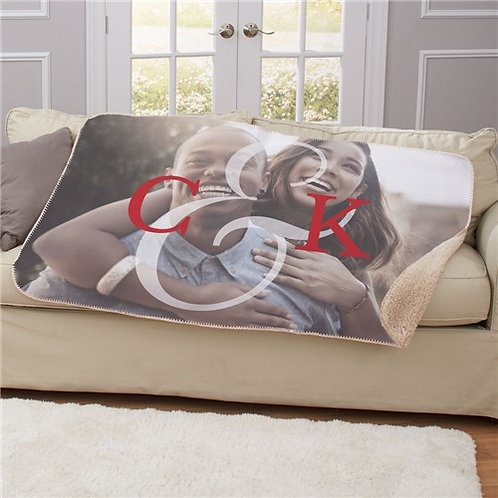 Personalized Initial Couples Photo Sherpa Blanket