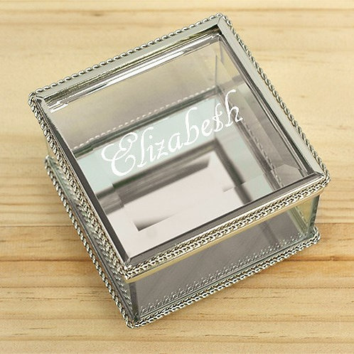 Glass Jewelry Box Engraved
