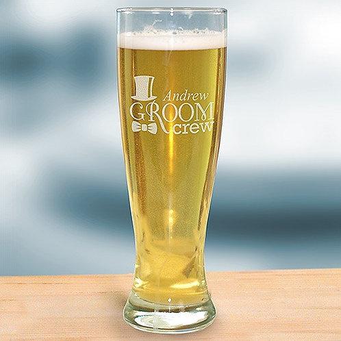 Engraved Groom Crew Pilsner Glass