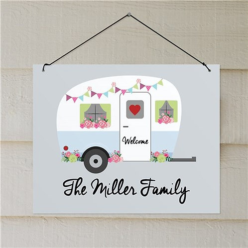 Personalized Floral Family Camper Wall Hanging