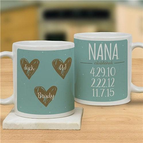Personalized Hearts Mug
