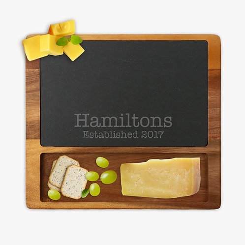 Personalized Established Family Square Cheese Slate Board w/ Acacia Base