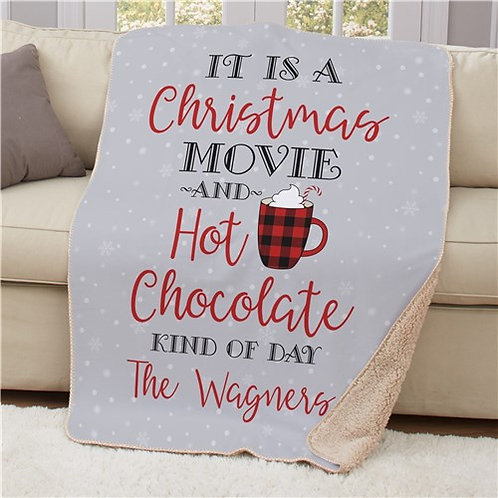Personalized Christmas Movie & Hot Chocolate Blanket 50x60