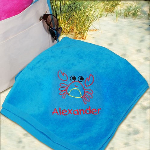 Embroidered Crab Blue Beach Towel