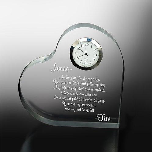 Engraved Love Keepsake Clock