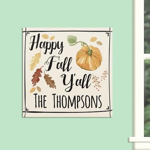 Happy Fall Ya'll Wall Canvas