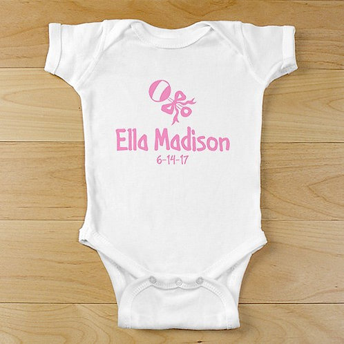 New Baby Girl Rattle and Bow Personalized Infant Bodysuit