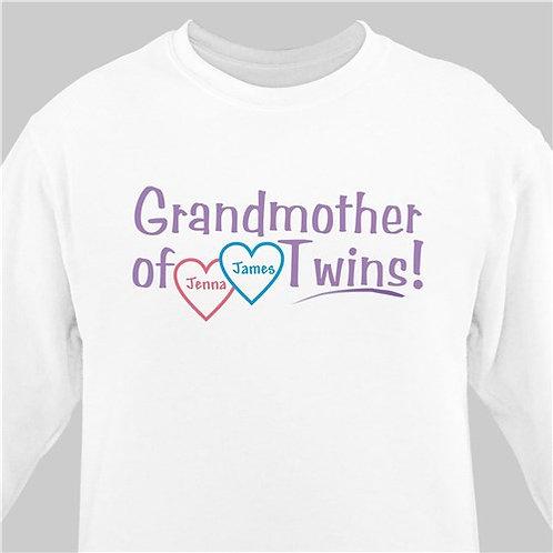 Grandmother of Twins Personalized Sweatshirt