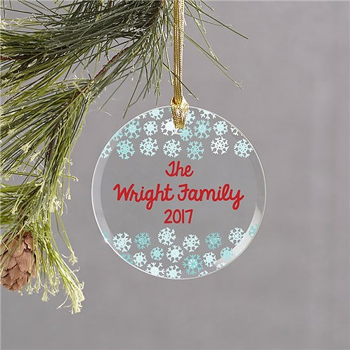 Personalized Snowflake Round Glass Ornament