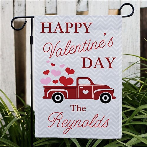 Personalized Happy Valentines Day Truck Garden Flag