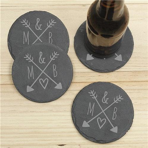 Arrows & Initials Slate Coaster Set