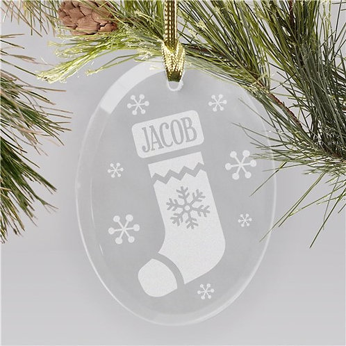 Engraved Stocking Oval Glass Ornament