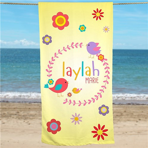 Personalized Flowers Beach Towel