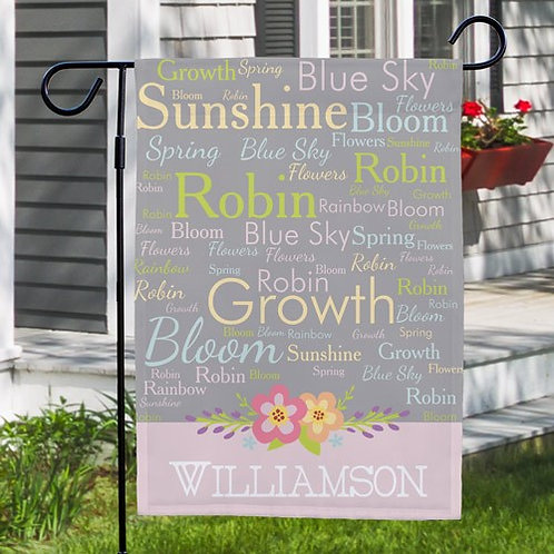 Personalized Spring Words Garden Flag