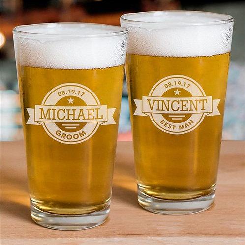 Engraved Groomsmen Beer Glass