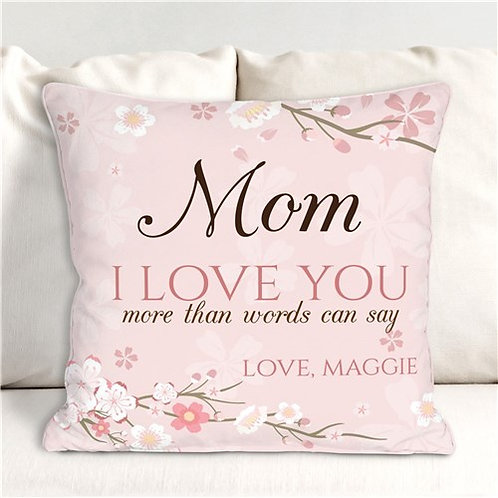 Personalized Cherry Blossom More Than Words Can Say Throw Pillow